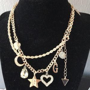 New Guess layered Charm Necklace Star Moon Hearts